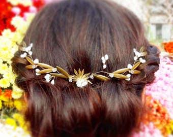 Asansol -Bridal gold leaves crown  Spring/Summer 2017