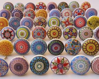 Decorative Ceramic Door Knobs Retro Porcelain Drawer Closet Pull Handle Tools