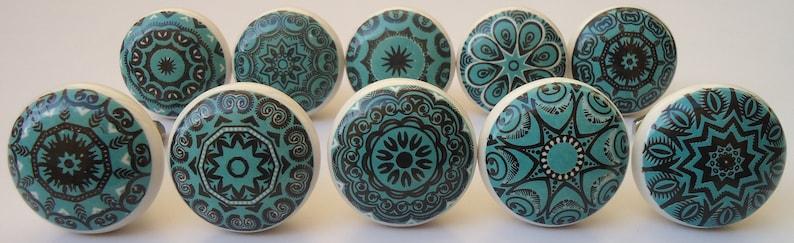 Black Teal Color Ceramic Knobs, Teal Cabinet Knobs