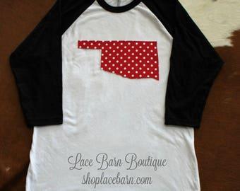 Be Okie Red! Oklahoma Shirt-White/Black Baseball Raglan shirt with Red/White Polka Dot Fabric