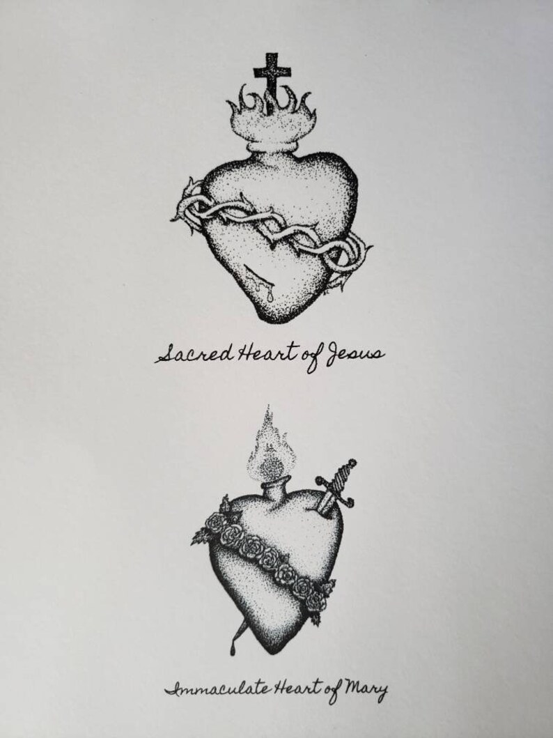Sacred Heart Of Jesus And Immaculate Heart Of Mary Print In Original Pointillist Style Art