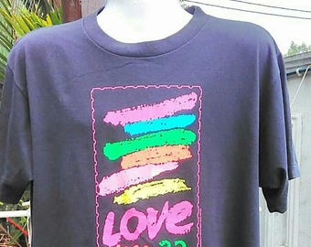 Vintage Clothing 80's Rare Hazelwood Premo Made In USA Love USA 22 Copyright 1988 Size XL