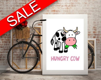 Wall Art Cow Digital Print Hungry Poster Art Cow Wall Art Print Hungry Kitchen Art Hungry Kitchen Print Cow Wall Decor Cow food