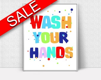 Wall Art Wash Your Hands Digital Print Wash Your Hands Poster Art Wash Your Hands Wall Art Print Wash Your Hands Bathroom Art Wash Your