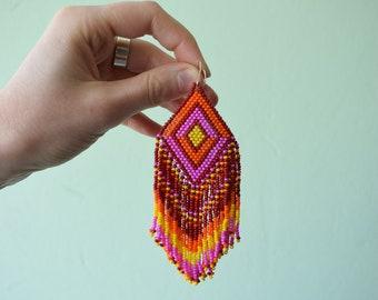 Beaded earrings Seed bead earrings Pink beaded earrings Extra long beaded earrings Fringe beaded earrings Boho earrings Hippie bead earrings