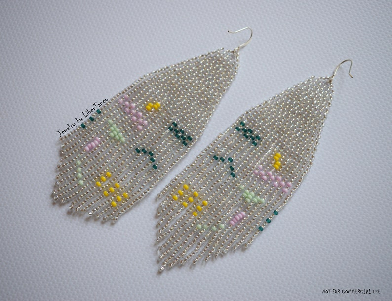 Beaded earrings Fringe earrings Bead tassel earrings Beadwork Geometric earrings Abstract bead earrings Seed bead earrings Long earrings