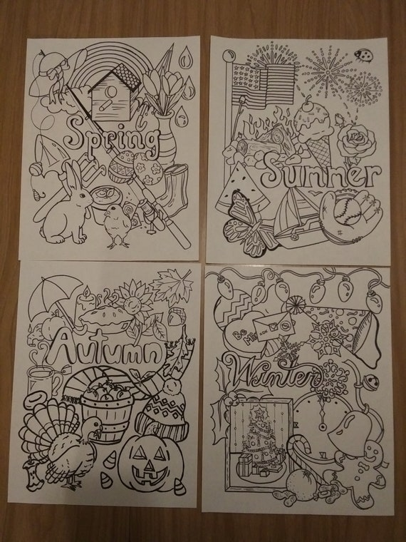 Seasonal Coloring Pages Etsy