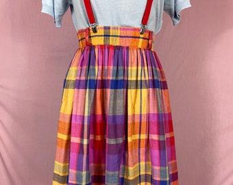 80s Colorful Autumn Plaid Cotton Full Skirt Pockets Crazy Horse L XL