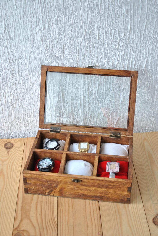 personalisierte geschenk f r ihn holz uhrenbox f r 6 uhren. Black Bedroom Furniture Sets. Home Design Ideas