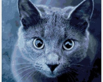 Modern Cross Stitch PDF Pattern: Beautiful Gray Cat in High Definition Detail