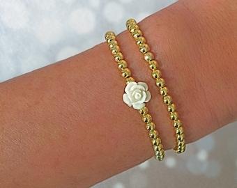14K Gold Filled Flower Bracelet   Gold Bead Stackers