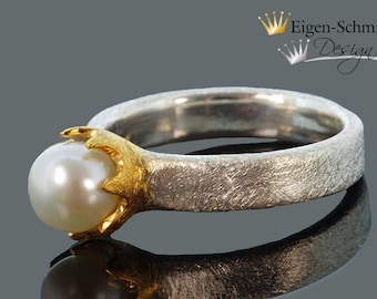 """Gold Forge beaded Ring """"Timeless Pearl"""" in 925 sterling silver with a partial gilding, crown, silver ring, engagement, ring, jewelry"""