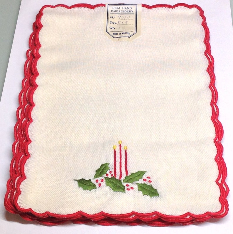 Vintage New Unused Old Stock Linen Red Candles /& Green Holly Cocktail Napkins with Red Scallop Edges Hand Embroidered in Madeira