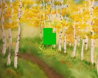 Golden yellow autumn fall trees 8 x10 Giclee Print from original watercolor painting Utah's American Fork Canyon quaking aspen grove leaves
