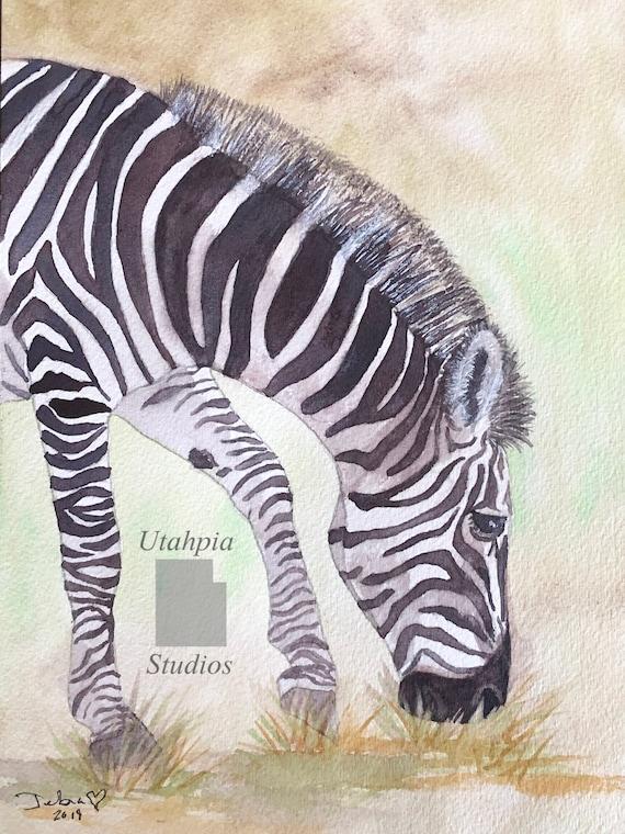 8 x 10 African Zebra Africa safari original one of a kind watercolor painting black /& white stripes Kenya Masai Mara Giclee Print option