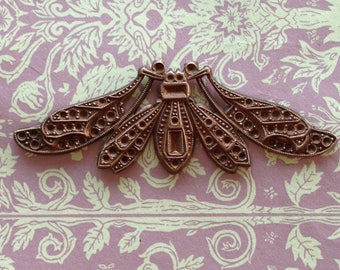 French Antique COOL ART DECO Bug(1pc)Vintage French Brass pendant/ brass stamping/French Finding/Vintage brass Stamping/Bug Stamping [#56]