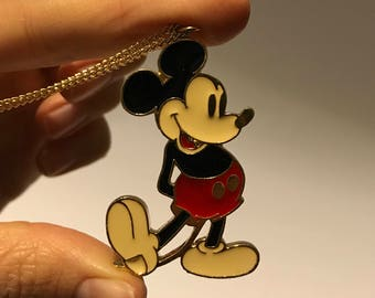 1970s Vintage Mickey Mouse Pendant on Gold-Toned Chain Necklace