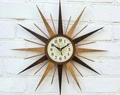 22 quot Starburst wall clock Two colors Bronze George Nelson Handmade 1970s style sunburst vintage modern Brass Industrial clock