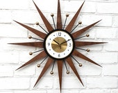 30 quot Atomic wall clock Starburst Clock George Nelson Handmade 1970s style sunburst Brass Gold Large clock vintage modern Industrial clock