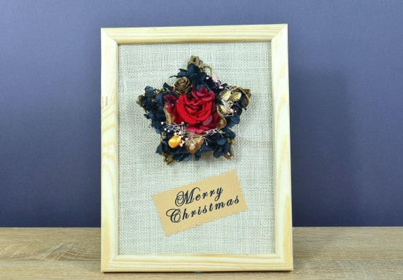 Frohe Weihnachten 3d.Weihnachtsgeschenke Vintage Frohe Weihnachten 3d Natürliche Bild Getrocknete Blumen Zusammensetzung Weihnachtsstern Geschenk Mitbringsel