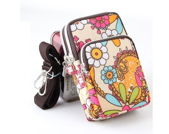 Sunflower,Girl cell phone purse,Fabric iPhone7,iPhone 6,Case Sling Bag,bag  on neck or arm,iPhone Galaxy Zipper Pocket Cell Phone Case Pouch