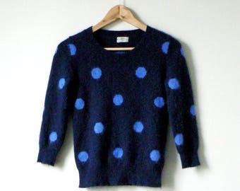 90s Polka Dot Angora Blend Sweater - Blue Angora Sweater Vintage Angora Sweater - 90s Sweater - Women's XS