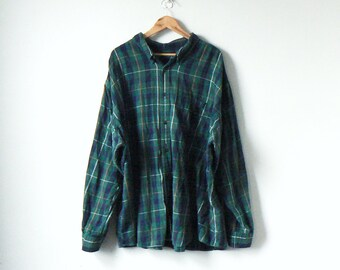 90s Really Big Green   Blue Flannel Shirt - 90s Flannel Shirt - Oversized  Flannel Shirt - Long Flannel - Lumberjack Flannel - Men s 4XL 6492230e395c7