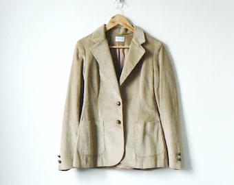 579215a2a62e92 70s Blazer di velluto a coste beige - 70s Blazer Blazer - professore giacca  - professore - donne XS