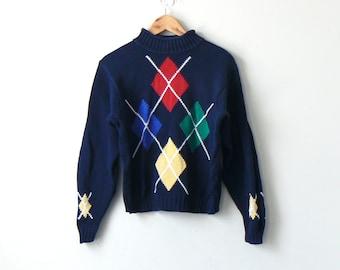 90s Argyle Roll Neck Sweater - 90s Sweater Vintage Sweater - 90s Preppy  Clothing - Preppy Sweater - Argyle Sweater - Women s S 7b430535c