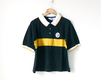 b1096f418 90s Steelers Block Stripe Polo Shirt - Steelers Shirt - Steelers Polo Shirt  - 90s Polo Shirt - Vintage Steelers T-Shirt - Men s M