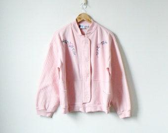 90s Pastel Pink Floral Embroidered Sweatshirt Cardigan - Pastel Sweatshirt  - Women s L c21f26a9a