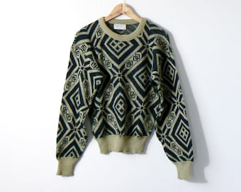7c916b0f68ee 80s Beige   Black Geometric Patterned Sweater - 80s Sweater Vintage Sweater  80s Clothing - Geometric Sweater - Beige Sweater - Men s L