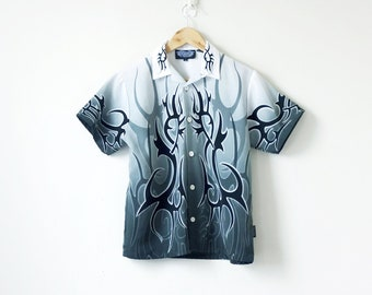 7a875f93f 90s Grayscale Flame Print Button Down - 90s Shirt - Flame Shirt - Men's S