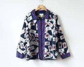 b335b42fe 80s Playing Cards Silk Jacket - 80s Baroque Jacket - 80s Windbreaker -  Women's XL