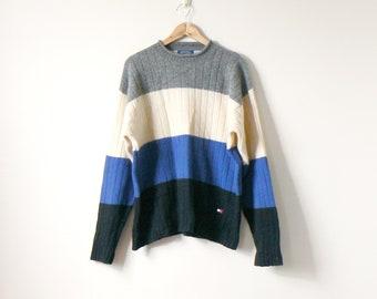 90s Tommy Hilfiger Colorblock Sweater - Shetland Wool 90s Hilfiger Sweater  - Vintage Hilfiger 90s Sweater - 90s Hip Hop Clothing - Men s L 6aef86aaedbb