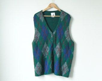90s Green Argyle Sweater Vest - Big Sweater Vest - 90s Sweater Vest - Men s  XL 91072360e