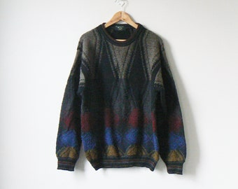 Boho 80s Earth Tone Colorblock Sweater - 80s Sweater - Vintage Sweater -  Men s XL 566dfc4ec
