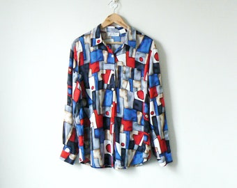 5203736eb0de 80s Cubist Geometric Patterned Button Down - 80s Button Down - 80s Shirt -  80s Clothing - 80s Blosue - 80s Top - Crazy Shirt - Women's M