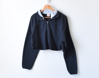 90s Dark Olive Zip Collar Cropped Sweatshirt Women/'s L 90s Crop Top Sweatshirt