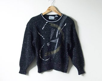 ab6de9bfb9 80s Sparkly Gold   Silver Sequins Sweater - 80s Sweater - Vintage Sweater -  Disco Sweater - Disco Clothing - Sparkly Sweater - Women s L
