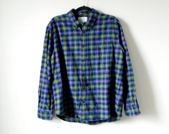90s Blue & Green Flannel Shirt - 90s Flannel Vintage Flannel 90s Clothing - 90s Grunge - 90s Skaater Clothing - Big Flannel - Men's L