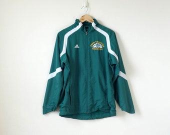 "90s Adidas ""Penn Trafford Warriors"" Team Windbreaker - 90s Windbreaker Vintage Windbreaker Green Windbreaker - 90s Team jacket - Men's XS"