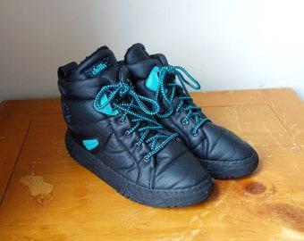 93db7fd9b 80s Black & Teal Puffy Sneakers - 80s Sneakers - 80s High Tops - Women's 10/ Men's 8.5