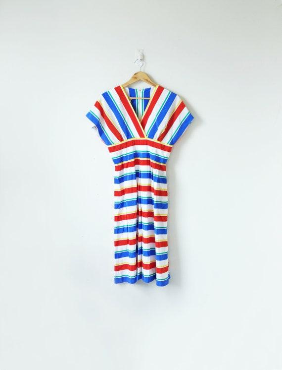 70s Striped Wrap Dress - 70s Dress - Vintage Dress