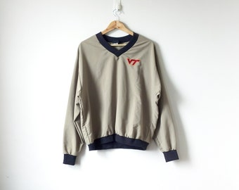 90s Virginia Tech Pullover Windbreaker - 90s Windbreaker Vintage Windbreaker 90s Clothing - Beige Windbreaker 90s Jacket - Men's L
