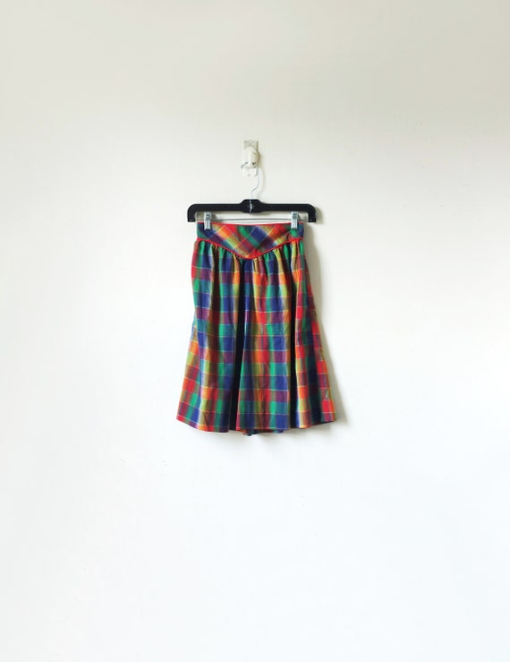 70s Rainbow Plaid Skort - Vintage Rainbow Shorts -
