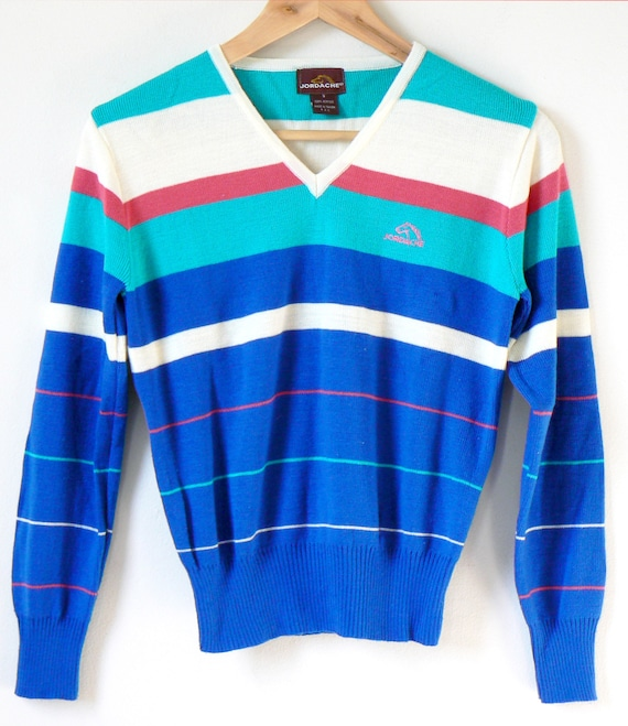 aab639214 90s Jordache Striped V-Neck Sweater - Vintage Jordache Sweater - 90s  Sweater - Striped Sweater - 90s Preppy Sweater - 90s Clothing - Size S