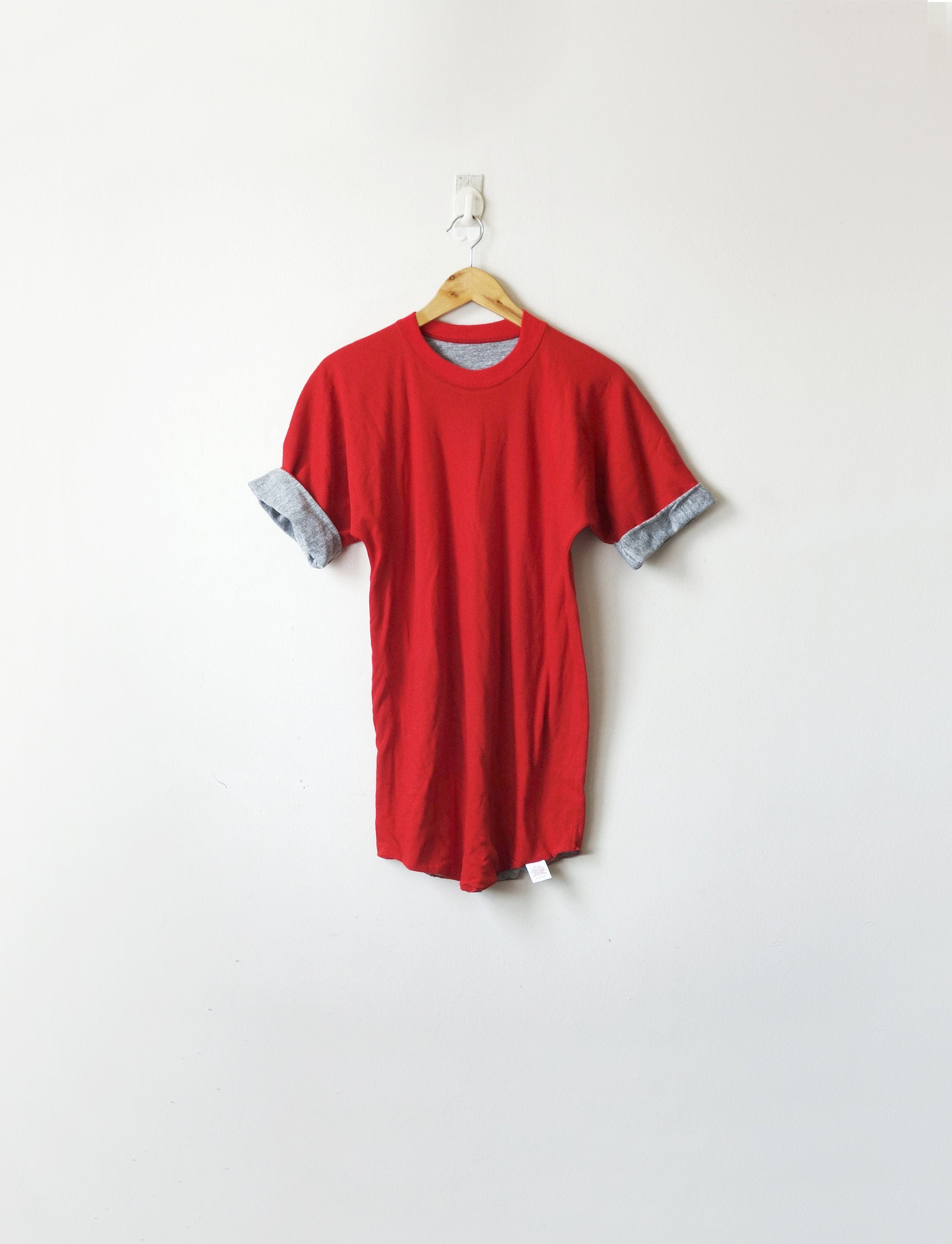 1970s Mens Shirt Styles – Vintage 70s Shirts for Guys 70S Russell Athletic Rollcuff Red T-Shirt - Vintage 1970S Mens M $0.00 AT vintagedancer.com