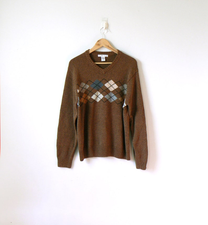 ba19db5a1 90s Argyle Sweater - 90s Sweater - Vintage Sweater - Grandpa Sweater - 90s  Clothing - Chunky Sweater - 90s Normcore Sweater - Men's L