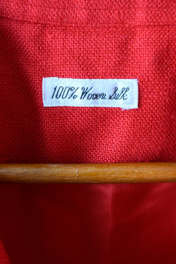 90s Red Woven-Silk Bomber Jacket - Women's M - image 3